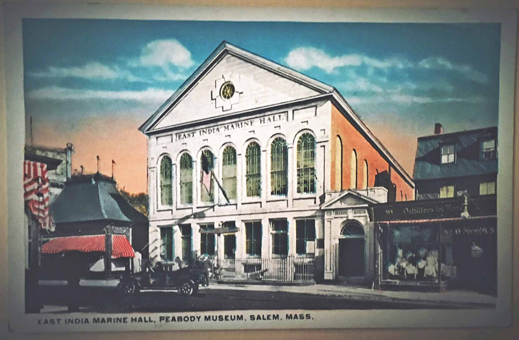"White Border era (1915-1930) postcard of ""East India Marine Hall, Peabody Museum, Salem, Mass."" from my personal collection. Photo by Paige Besse."