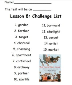 Spelling List for Challenge List Lesson 08