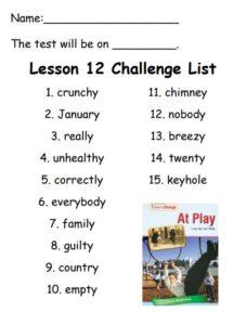 Challenge Spelling List