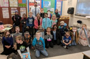 2nd Grade class with big bushy mustaches
