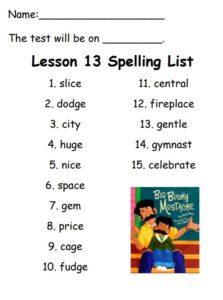 Spelling list for week of December 15th, 2017