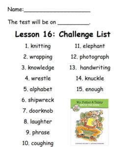 Challenge List for Spelling on Week 16