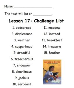 Challenge List for Spelling in Lesson 17