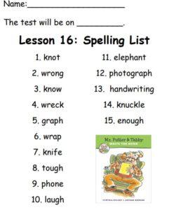 Spelling List for Week 16