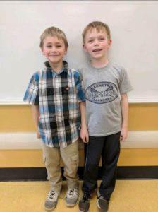 Two students who ran over five miles in Recess Running Club!