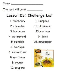 Lesson 23 Challenge List