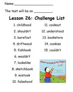 Challenge List for Lesson 26