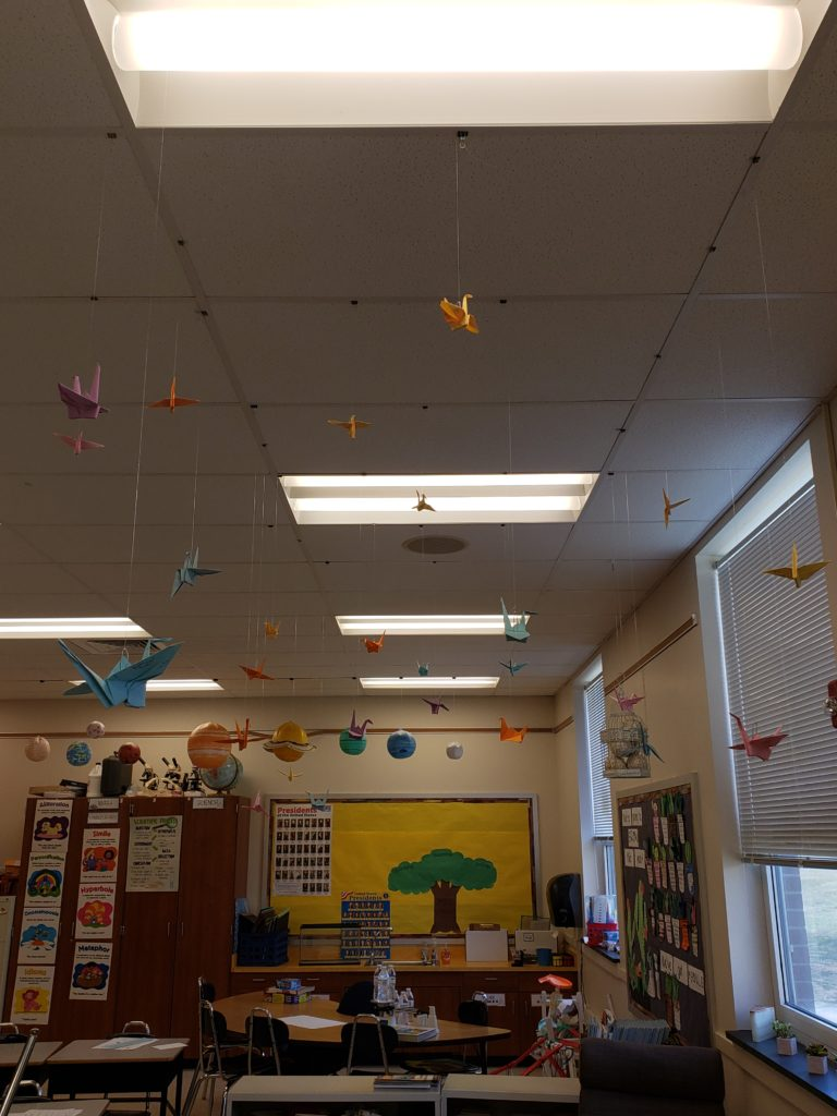 Paper cranes folded by students after reading Sadako and the Thousand Paper Cranes, by Eleanor Coerr.