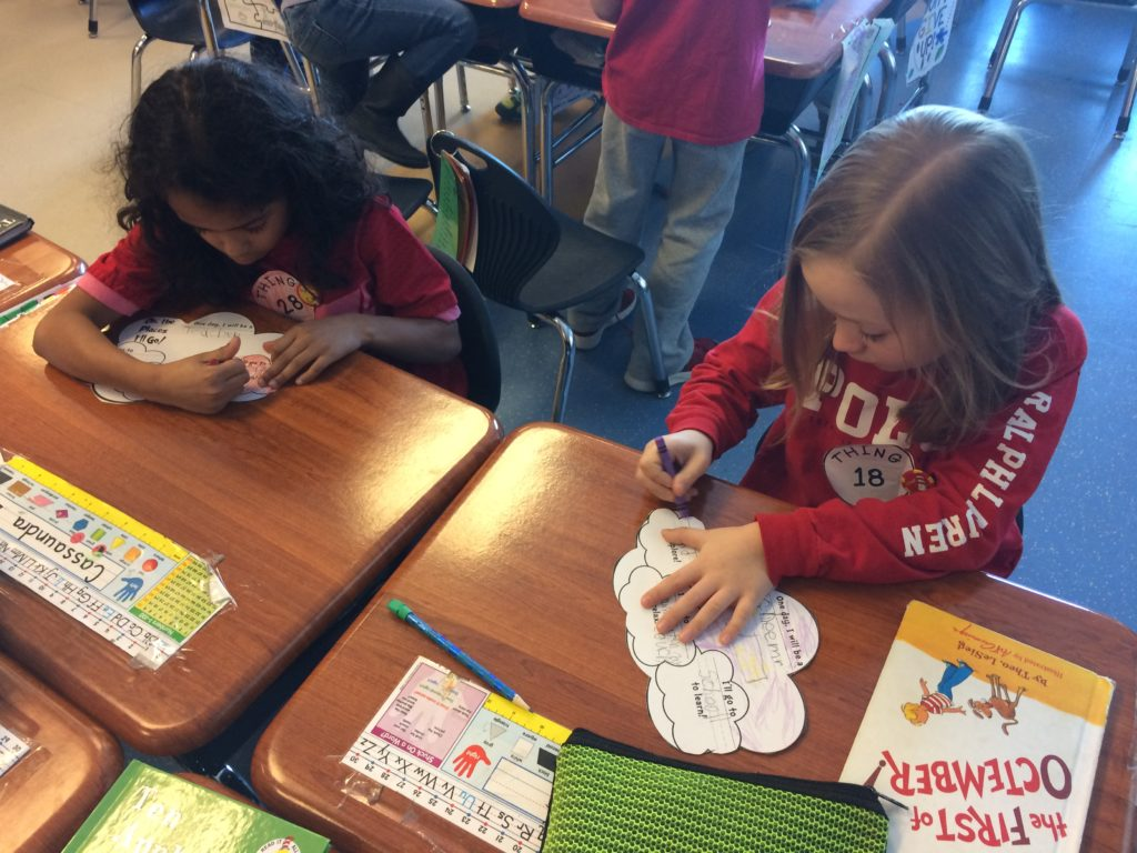 students creating writing projects