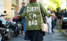 woman in green jacket
