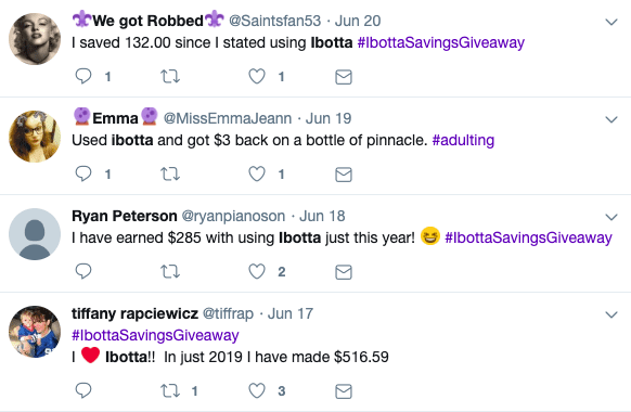 """Four social media posts that say, """"I saved 132.00 since I started using Ibotta"""". """"Used Ibotta and got $3 back on a bottle of pinnacle."""" """"I have earned $285 with using Ibotta just this year!"""". """"I heart Ibotta!! In just 2019 I have made $516.59"""""""