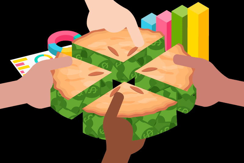 Multicultural Hands Taking Pieces Of A Money Pie