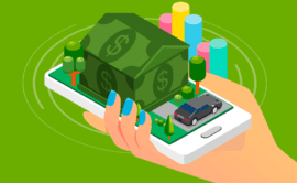 A Woman Holding A Cellphone With A Property Investment Money House