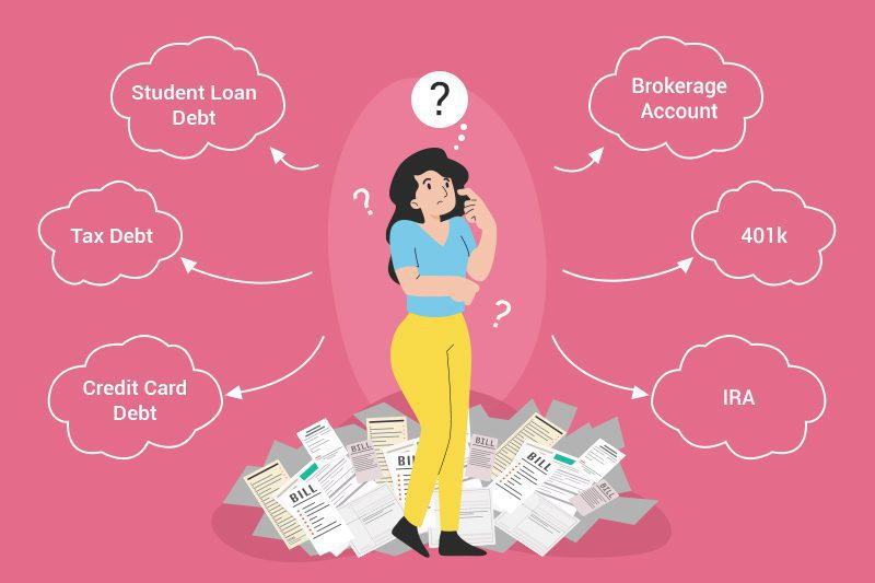 Woman deciding if she should pay off debt or invest.
