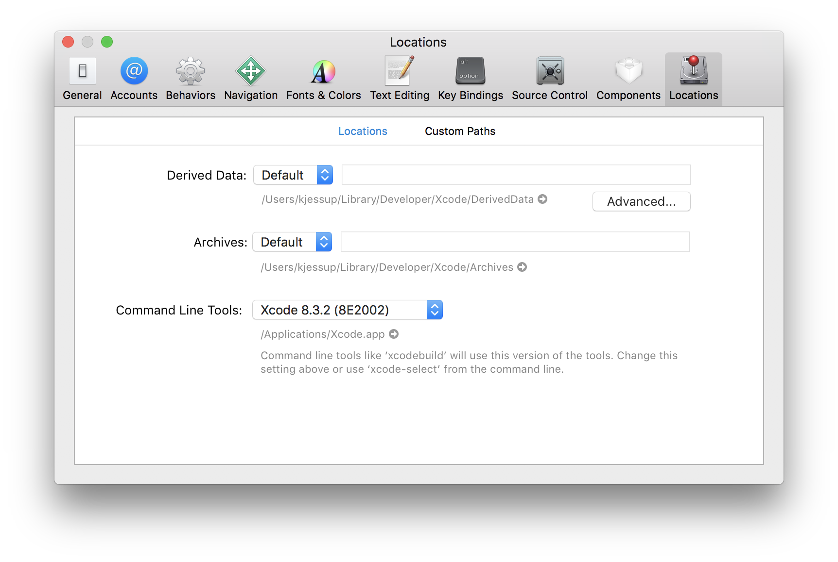 Selecting the correct command line tools in Xcode
