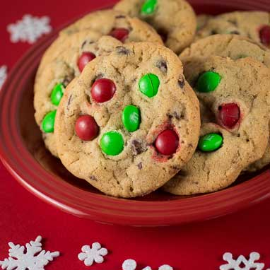 mms are a great way to add a splash of color to holiday themed confections red and green transform these chocolate chip cookies into a cute and quick