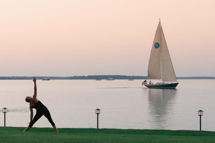 yoga at sunrise on the lawn