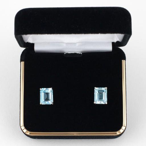 Rectangle Cut Mt. Antero Aquamarine Earrings 7x5mm