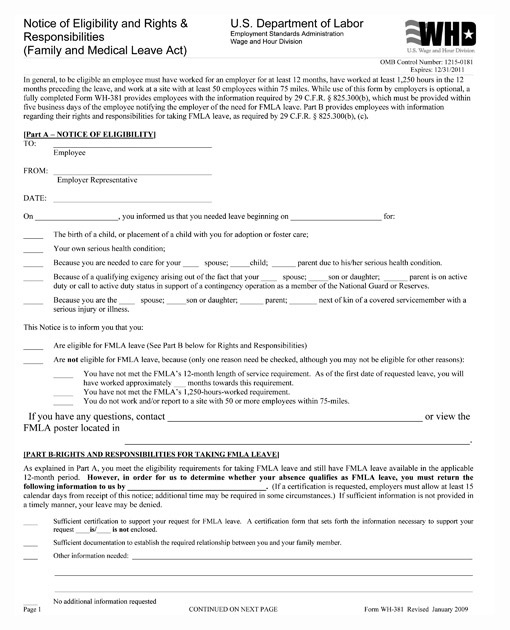 Personnelconcepts  Fmla Notice Of Eligibility Forms