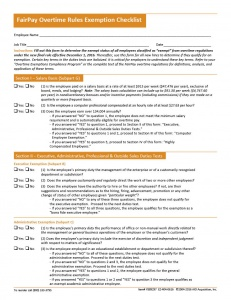 Overtime  Rules  Exemption  Checklist  with  Job  Duties  Analysis  Forms