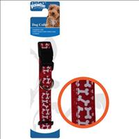 Coleira Pawise Vermelha com Estampas de Ossinho para Cães Coleira Pawise Vermelha com Estampas de Os