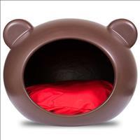 Casa Guisa Pet Dog Cave Grande Marrom - Almofada Vermelha