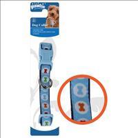 Coleira Pawise Azul com Estampa de Ossinho para Cães Coleira Pawise Azul com Estampa de Ossinho - Ta