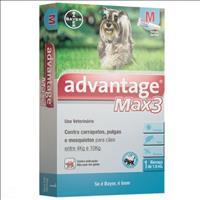 Anti Pulgas e Carrapatos Bayer Advantage MAX3 com 1 mL para Cães de 4kg a 10kg Anti Pulgas e Carrapa
