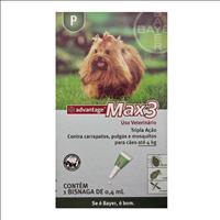 Anti Pulgas e Carrapatos Bayer Advantage MAX3 com 0,4 mL para Cães Até 4 Kg Anti Pulgas e Carrapatos