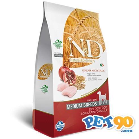 Ração Farmina N & D Low Grain Frango para Cães Adultos de Raças Médias - 2,5 Kg