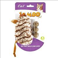 Brinquedo Mordedor Jambo de Pelúcia Rato com 3 Bolas de Catnip