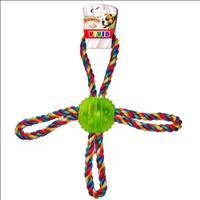 Brinquedo Pawise Bola de Borracha Dura com Corda 4 Pontas - Verde
