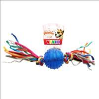 Brinquedo Pawise Bola de Borracha Dura com Corda - Azul