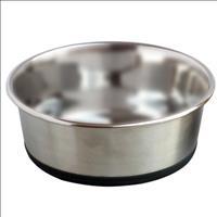 Comedouro Jambo de Aço Inoxidável e Base Antiderrapante para Cães - 550ml