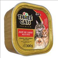 Ração Hercosul Three Cats Patê de Carne para Gatos Adultos e Filhotes - 300gr