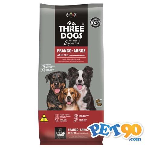 Ração Hercosul ThreeDogs Especial Frango e Arroz para Adultos de Raças Médias e Grandes - 3kg