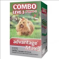 Anti Pulgas e Carrapatos Combo Advantage MAX3 P para Cães até 4kg - 0,4ml