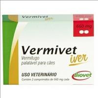 Vermífugo Biovet Vermivet Iver para Cães - 2 Comprimidos Vermífugo Biovet Vermivet Iver 660mg para C
