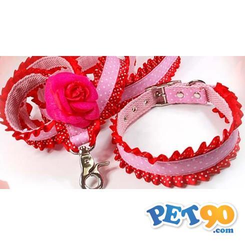 Coleira Flor - Rosa com Vermelho Coleira Flor - Rosa com Vermelha - Tam M