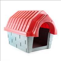 Casa Clicknew com Chaminé - Cinza com Vermelho Casa Clicknew com Chaminé Cinza com Vermelho - N. 01
