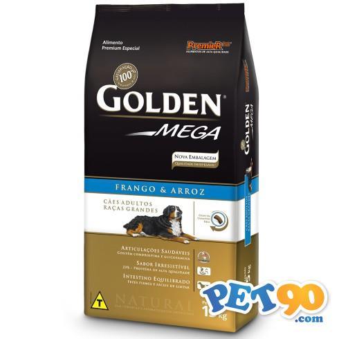 Ração Premier Golden Mega Cães Adultos Raças Grandes Frango e Arroz - 15kg