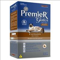 Ração Premier Pet Gatos Castrados até 7 anos Ambientes Internos Salmão - 1,5kg