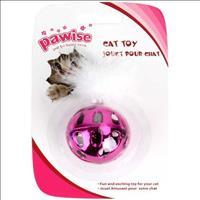 Brinquedo Bola Pawise Metálica com Pluma - Rosa