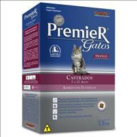 Ração Premier Pet Gatos Ambientes Internos Castrados 7 a 12 anos Frango - 1,5kg