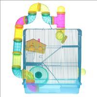 Gaiola Hamster 3 andares + Labirinto Caninos Brancos - Azul