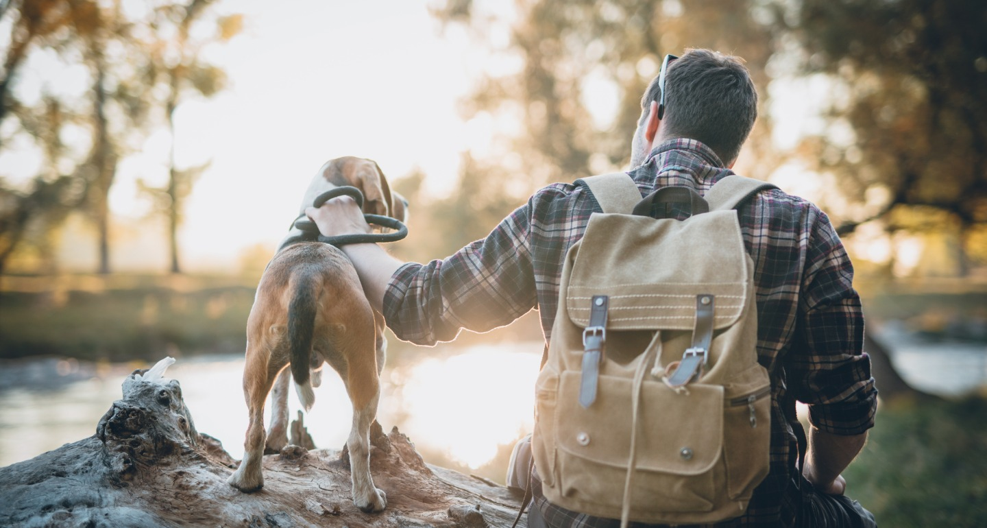 hiking with your dog to boost his confidence