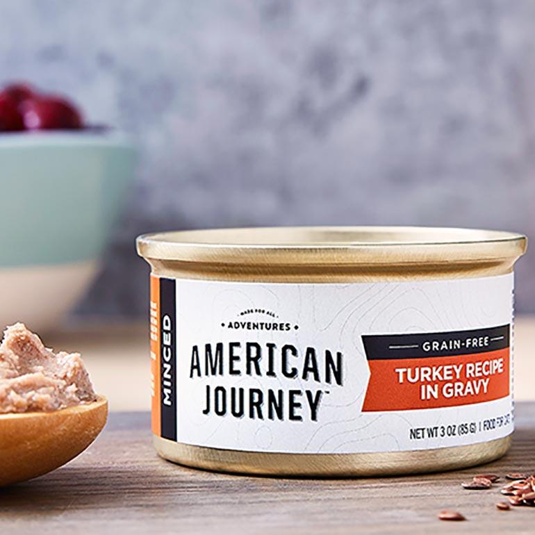 American Journey Minced Turkey Recipe in Gravy Grain-Free Canned Cat Food
