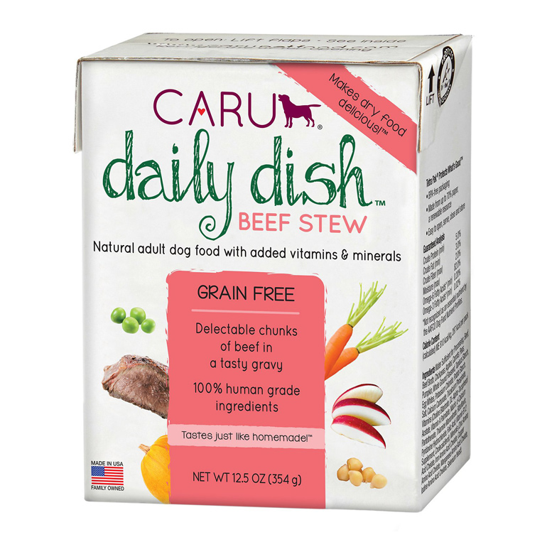 •	Caru Daily Dish Beef Stew Grain-Free Wet Dog Food, 12.5-oz, case of 12