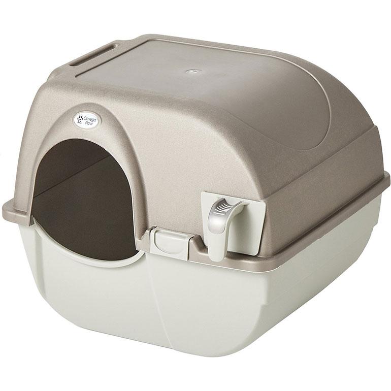 best cat litter box- omega paw covered litter box