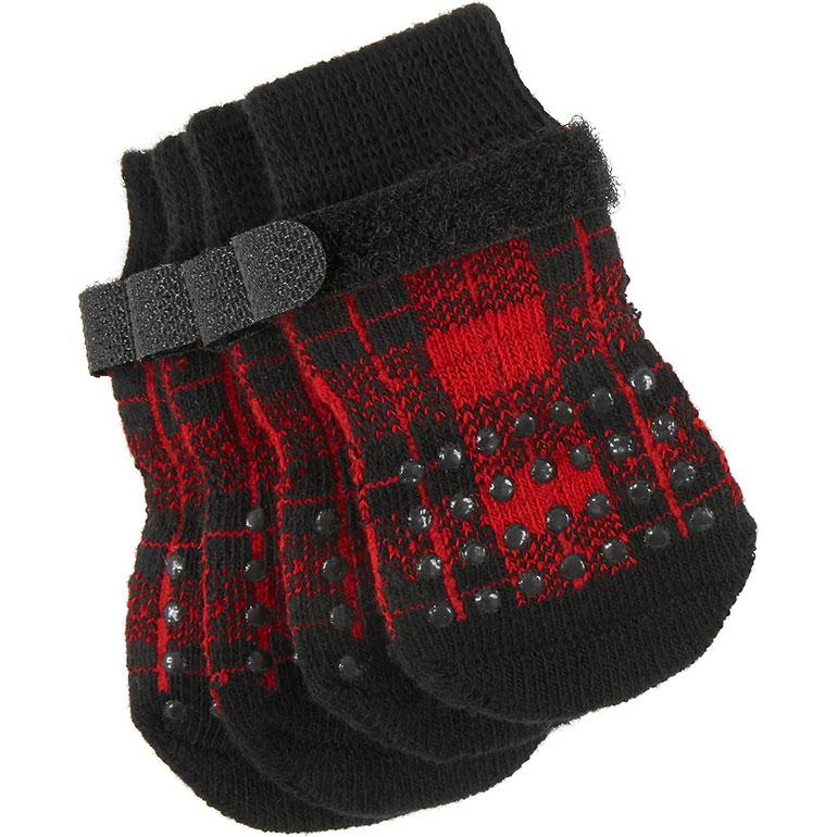 plaid anti-slip dog socks